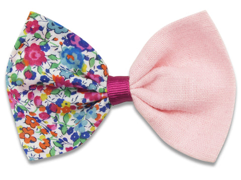 Liberty Emma G & pink linen combo bow