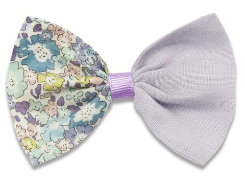 Liberty Amelie R & lilac linen combo bow