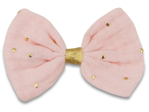 Pink & gold muslin Bella hair bow