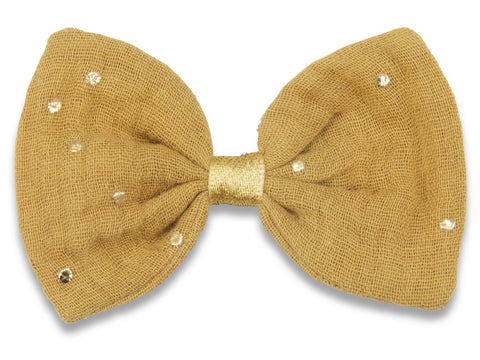 Camel & gold muslin Bella hair bow