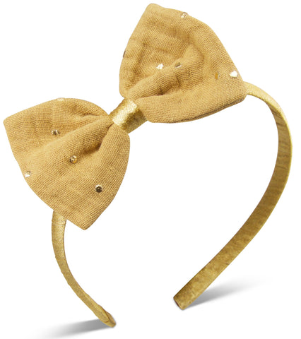 Camel & gold muslin Bella headband