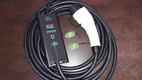 Zencar 32A 7.68kW Portable Charging Station with RFID cards, 25ft.