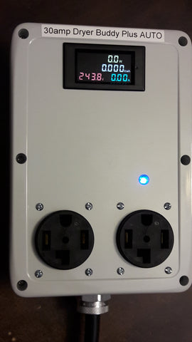 Dryer Buddy™ Plus AUTO #2 Custom 30A 2-way switcher, 5' 14-30 plug cable (1996+) to two 14-30 outlets, with kWh meter