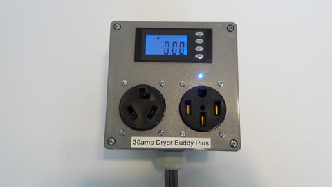 Dryer Buddy™ Plus #4 Custom 30A 2-way switcher, 5' 10-30 plug cable (before 1996) to one 10-30 and one 14-50 outlets with optional kWh/Watt/Volt/Amp meter