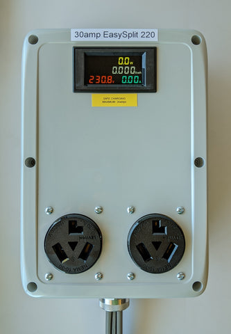 EasySplit 220™ #1 30A 240v Splitter 5ft. cable NEMA 10-30 (before 1996), two 10-30 outlets with kWh/Watt/Volt/Amp meter