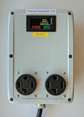 EasySplit 220™ #2 30A 240v Splitter 5ft. cable NEMA 14-30 (1996+), two 14-30 outlets with kWh/Watt/Volt/Amp meter