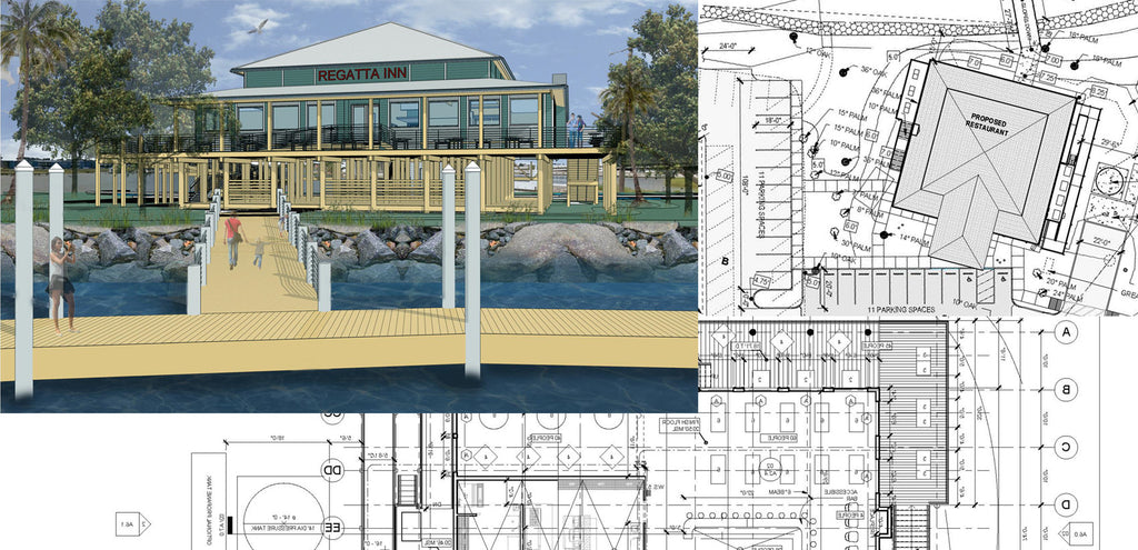 architechtural drawings for the new restaurant in Seabrook marina & shipyard, Seabrook Texas