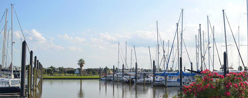 Seabrook Marina floating docks in Seabrook Texas near Galveston Bay