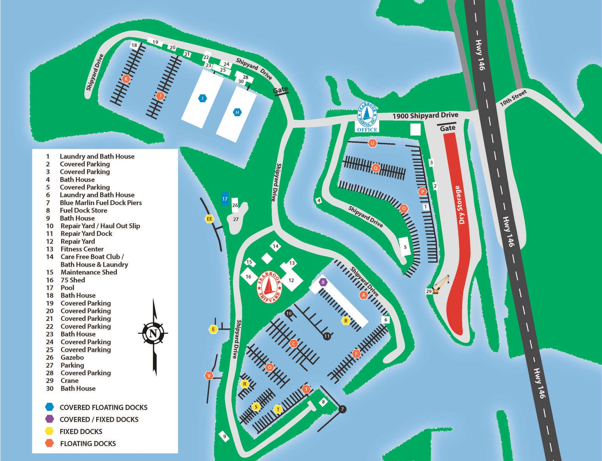 Seabrook Marina and Repair Yard Texas - Map