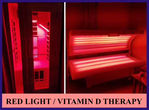 red light therapy, far-infrared sauna and vitamin D therapy