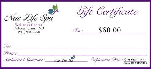 New Life Spa Gift Certificate - $60