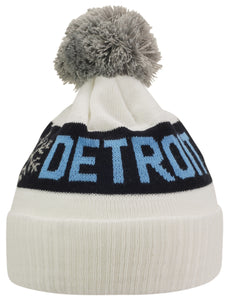 KRONK DETROIT WINTER BOBBLE HAT WHITE
