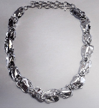 Silver Petal Necklace 16 link