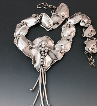 A Silver Petals and Reeds Necklace