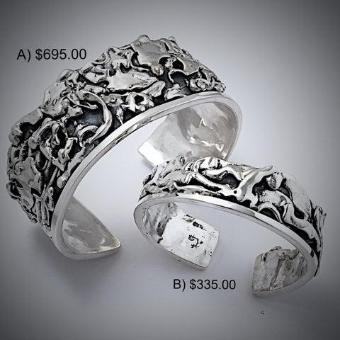 Silver Abstract Cuffs