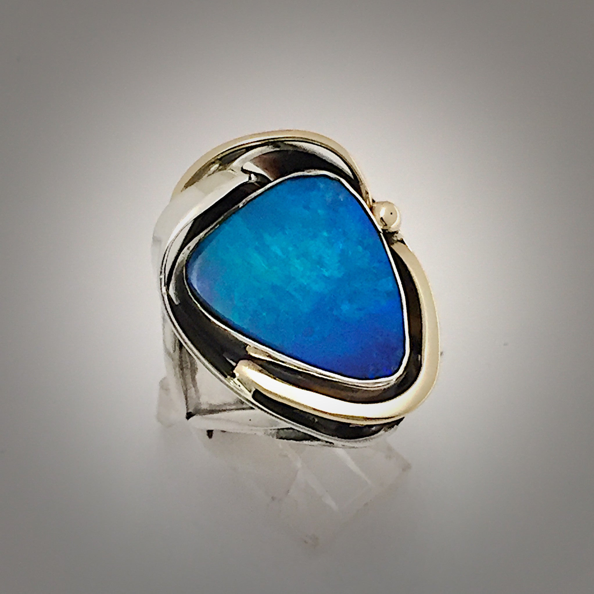Opal Australian Silver Gold Ring markszjewelrycom