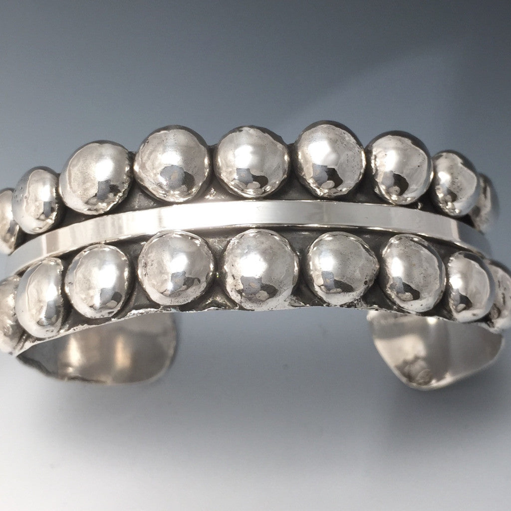 Silver Symetrical Beaded Cuff