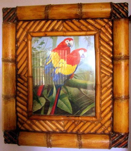 Jungle Parrots Painting in Bamboo Frame