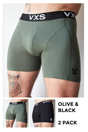 Bamboo Boxers - Olive / Black - 2pk - VXS GYM WEAR