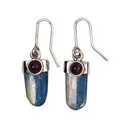 BLUE KYANITE TONGUE WITH ACCENT STONE EARRINGS