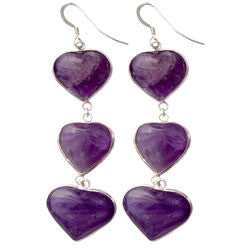 3 AMETHYST HEARTS EARRINGS