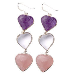 3 MIXED HEARTS EARRINGS