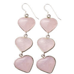 3 ROSE QUARTZ HEARTS EARRINGS