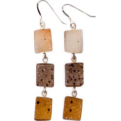 3 FREE FORM DRUZY AGATE EARRINGS