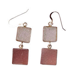 2 FREE FORM AGATE DRUZY EARRINGS