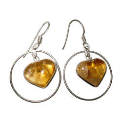 CITRINE HEART WITH RING EARRINGS