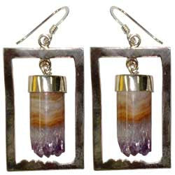 AMETHYST CYLINDER WITH SQUARE DESIGNE BEZEL EARRINGS