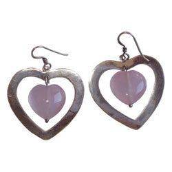 SILVER HEARTS WITH ROSE QUARTZ HEART EARRINGS