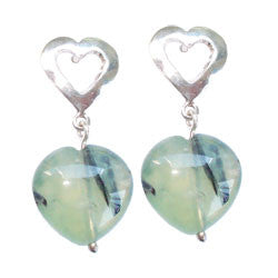 LARGE SILVER HEART WITH PRENITE IN THE MIDDLE EARRINGS