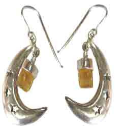 SILVER HALF MOON WITH STARS AND IMPERIAL TOPAZ EARRINGS