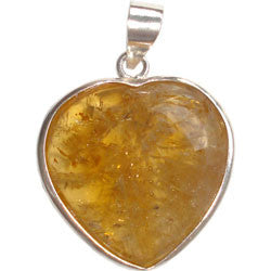 CITRINE HEART WITH SILVER