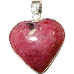 RHODONITE HEART WITH SILVER