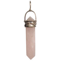 ANTIQUE TAIWAN ROSE QUARTZ POINT PENDANT