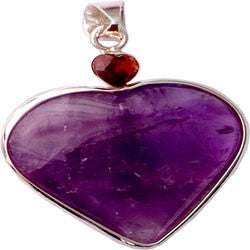 AMETHYST HEART WITH FACETED HEART