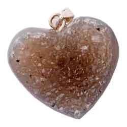 AGATE DRUZY LIGHT HEART PENDANT