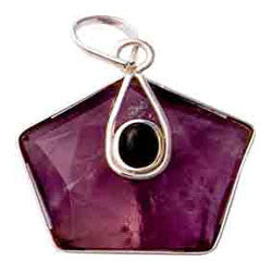 AMETHYST 5 POINTS STAR WITH CABOCHON PENDANT