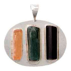HORIZONTAL 3 ROUGH STONES WITH SILVER BASE PENDANT