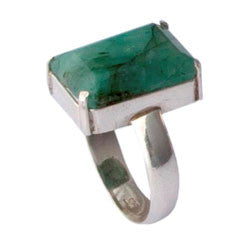 GREEN QUARTZ LARGE FACETED STONE RING