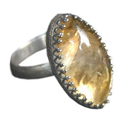 NAVETE CITRINE CABOCHON RING WITH FILIGREE