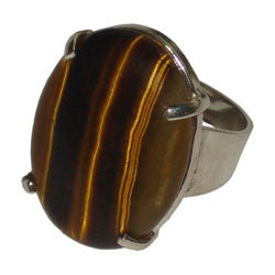 TIGER EYE SMOOTH OVAL CABOCHON THICK BAND RING WITH PRONGS