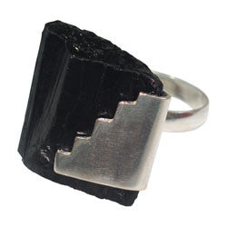BLACK TOURMALINE ROUGH STICK WITH SILVER DESIGN RING
