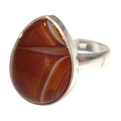 RING DROP AGATE SILVER