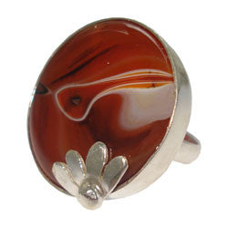 AGATE SLAB RING WITH SILVER FLOWER