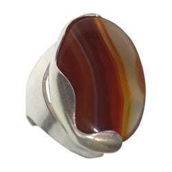 SMALL CAMILAS WAVE RING WITH AGATE CABOCHON