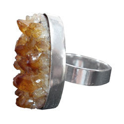 CITRINE DRUZE RING THICK BAND