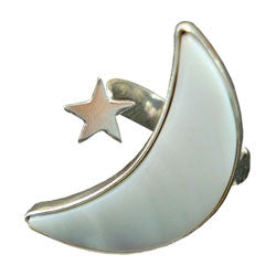 ADJUSTABLE HALF MOON MOTHER OF PEARL WITH SILVER STAR